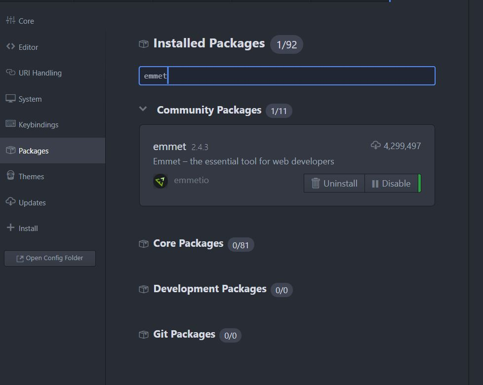 Atom.io Editor Package Settings