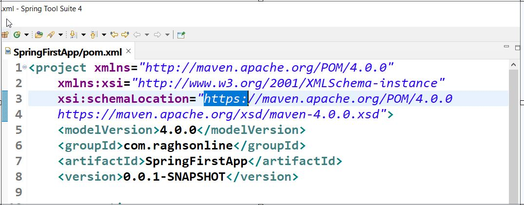 Maven XMLNS XSD Issue Fixed in STS IDE
